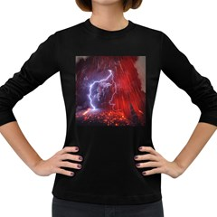 Fire Volcano Lightning Montain Wallpapers Women s Long Sleeve Dark T Shirt by AnjaniArt