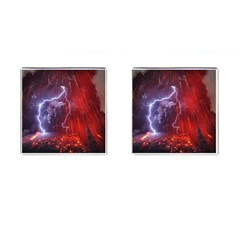 Fire Volcano Lightning Montain Wallpapers Cufflinks (square)
