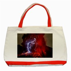 Fire Volcano Lightning Montain Wallpapers Classic Tote Bag (red) by AnjaniArt