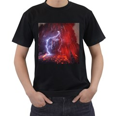 Fire Volcano Lightning Montain Wallpapers Men s T Shirt (black) by AnjaniArt