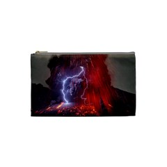 Fire Volcano Lightning Montain Wallpapers Cosmetic Bag (small)