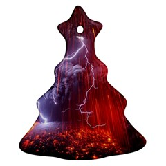 Fire Volcano Lightning Montain Wallpapers Ornament (christmas Tree)  by AnjaniArt