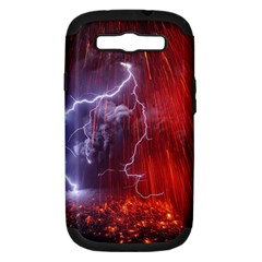 Fire Volcano Lightning Montain Wallpapers Samsung Galaxy S Iii Hardshell Case (pc+silicone) by AnjaniArt