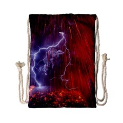 Fire Volcano Lightning Montain Wallpapers Drawstring Bag (small) by AnjaniArt