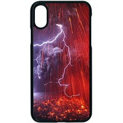 Fire Volcano Lightning Montain Wallpapers Apple Iphone X Seamless Case (black)