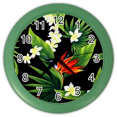 Frangipani Flower Color Wall Clock