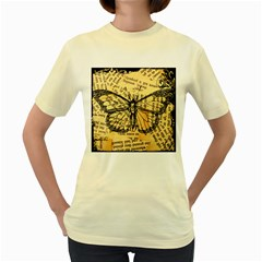 Vintage Butterfly Art Antique Women s Yellow T Shirt by AnjaniArt