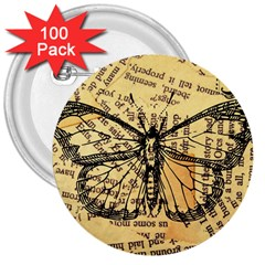 Vintage Butterfly Art Antique 3  Buttons (100 Pack)