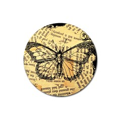 Vintage Butterfly Art Antique Magnet 3  (round) by AnjaniArt