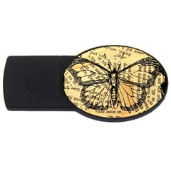 Vintage Butterfly Art Antique Usb Flash Drive Oval (2 Gb) by AnjaniArt