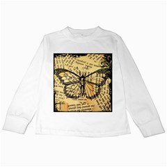 Vintage Butterfly Art Antique Kids Long Sleeve T Shirts