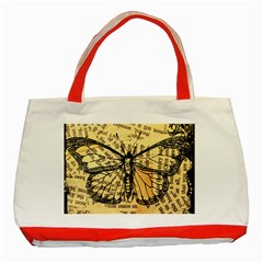 Vintage Butterfly Art Antique Classic Tote Bag (red) by AnjaniArt