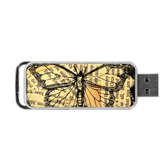 Vintage Butterfly Art Antique Portable Usb Flash (one Side) by AnjaniArt