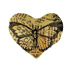 Vintage Butterfly Art Antique Standard 16  Premium Heart Shape Cushions