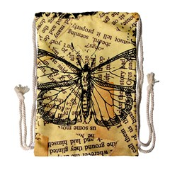 Vintage Butterfly Art Antique Drawstring Bag (large) by AnjaniArt