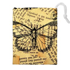 Vintage Butterfly Art Antique Drawstring Pouch (xxl) by AnjaniArt