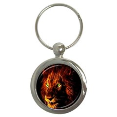 King Lion Wallpaper Animals Key Chains (round)  by AnjaniArt