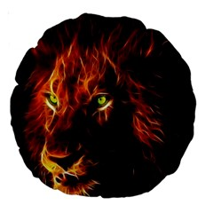 King Lion Wallpaper Animals Large 18  Premium Round Cushions by AnjaniArt