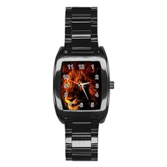 King Lion Wallpaper Animals Stainless Steel Barrel Watch by AnjaniArt