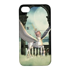Cute Little Pegasus In The Sky, Cartoon Apple Iphone 4/4s Hardshell Case With Stand by FantasyWorld7