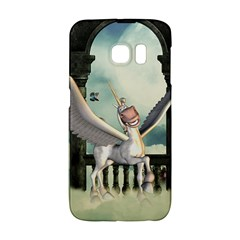 Cute Little Pegasus In The Sky, Cartoon Samsung Galaxy S6 Edge Hardshell Case by FantasyWorld7