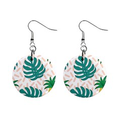 Green Leaf Fruite Pineapples Mini Button Earrings
