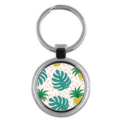 Green Leaf Fruite Pineapples Key Chains (round)  by AnjaniArt