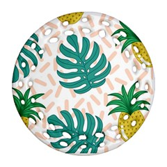 Green Leaf Fruite Pineapples Round Filigree Ornament (two Sides)