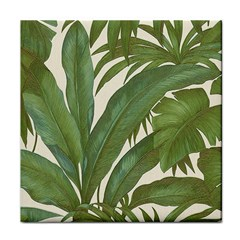 Green Palm Leaf Wallpaper Tile Coasters by AnjaniArt