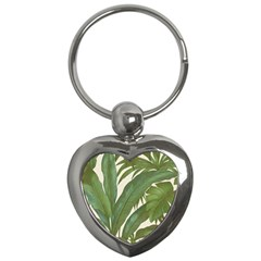 Green Palm Leaf Wallpaper Key Chains (heart)  by AnjaniArt