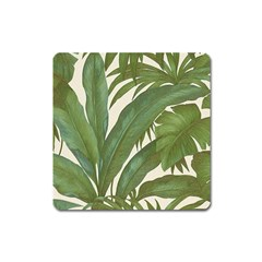 Green Palm Leaf Wallpaper Square Magnet by AnjaniArt
