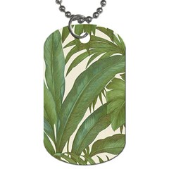 Green Palm Leaf Wallpaper Dog Tag (one Side) by AnjaniArt
