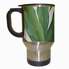 Green Palm Leaf Wallpaper Travel Mugs (white) by AnjaniArt