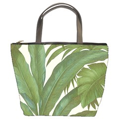 Green Palm Leaf Wallpaper Bucket Bag by AnjaniArt