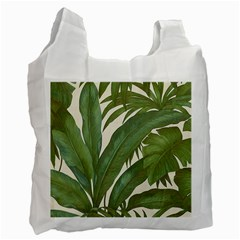 Green Palm Leaf Wallpaper Recycle Bag (one Side) by AnjaniArt