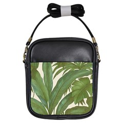 Green Palm Leaf Wallpaper Girls Sling Bag by AnjaniArt