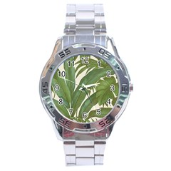 Green Palm Leaf Wallpaper Stainless Steel Analogue Watch by AnjaniArt