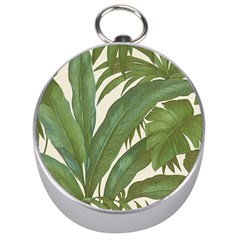 Green Palm Leaf Wallpaper Silver Compasses by AnjaniArt