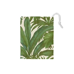 Green Palm Leaf Wallpaper Drawstring Pouch (small) by AnjaniArt