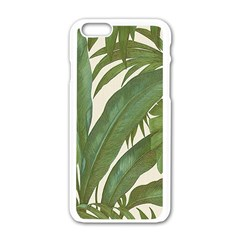 Green Palm Leaf Wallpaper Apple Iphone 6/6s White Enamel Case by AnjaniArt