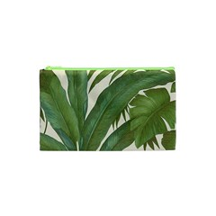 Green Palm Leaf Wallpaper Cosmetic Bag (xs) by AnjaniArt