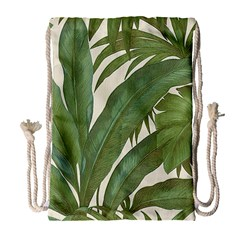 Green Palm Leaf Wallpaper Drawstring Bag (large) by AnjaniArt