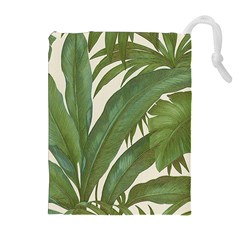 Green Palm Leaf Wallpaper Drawstring Pouch (xl) by AnjaniArt