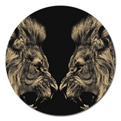 King Abstract Lion Painting Magnet 5  (round) by AnjaniArt