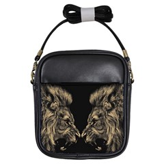King Abstract Lion Painting Girls Sling Bag