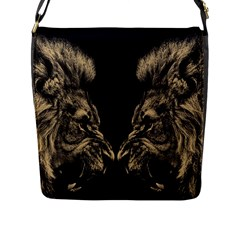 King Abstract Lion Painting Flap Closure Messenger Bag (l)