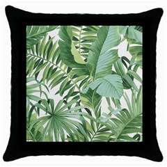 Green Palm Leaf Wallpaper Alfresco Palm Leaf Wallpaper Throw Pillow Case (black) by AnjaniArt