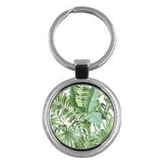 Green Palm Leaf Wallpaper Alfresco Palm Leaf Wallpaper Key Chains (round)  by AnjaniArt