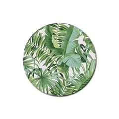 Green Palm Leaf Wallpaper Alfresco Palm Leaf Wallpaper Rubber Round Coaster (4 Pack)  by AnjaniArt