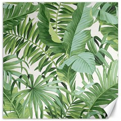 Green Palm Leaf Wallpaper Alfresco Palm Leaf Wallpaper Canvas 12  X 12  by AnjaniArt